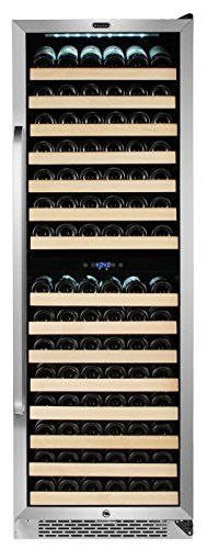 Whynter BWR-1642DZ 164 Bottle Built-in Dual Zone Compressor Wine Refrigerator with Display Rack, Stainless-Steel, One Size