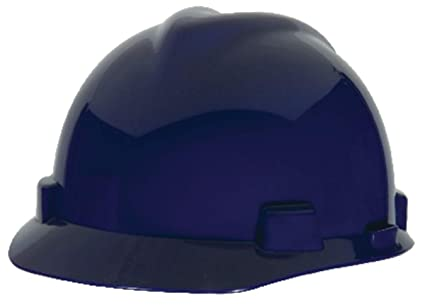 7b2a4c61 Image Unavailable. Image not available for. Color: MSA Blue Polyethylene  Cap Style Hard Hat With 4 Point Ratchet Suspension ...