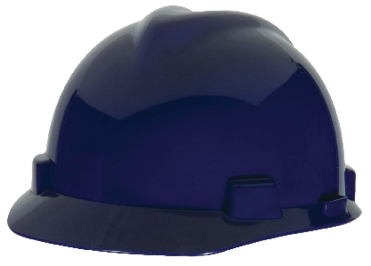 MSA Blue Polyethylene Cap Style Hard Hat With 4 Point Ratchet Suspension - Pack of 20
