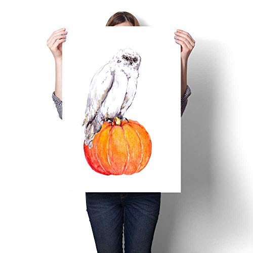 Anshesix Canvas Wall Art for Bedroom Home Decorations White owl on Pumpkin Halloween Watercolor for Home Decoration No Frame -