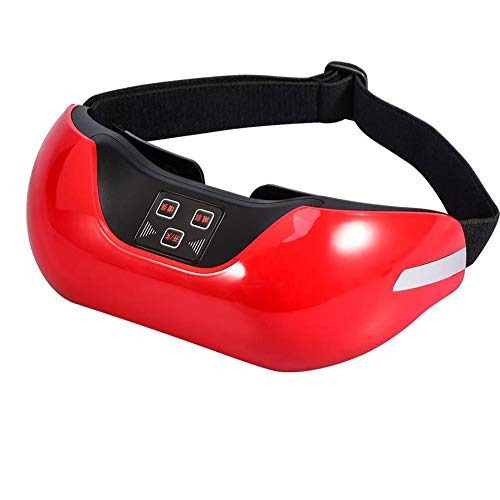 TIAO Wireless 3D Eye Massager, Rechargeable Green Eye Restoration Massage Glasses Micro Current to Improve Sleep,Red