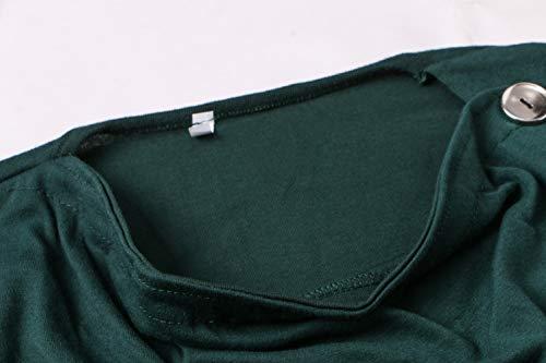 Blouse Tops et Jumpers Automne Personnalit Slim T Manches Monika Bouton Longues Tees Shirts Hauts Printemps Vert Femmes Casual aPCqY5w