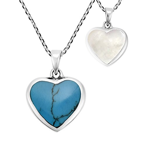 AeraVida Romantic Heart Simulated Turquoise and White Mother of Pearl .925 Sterling Silver Pendant Necklace