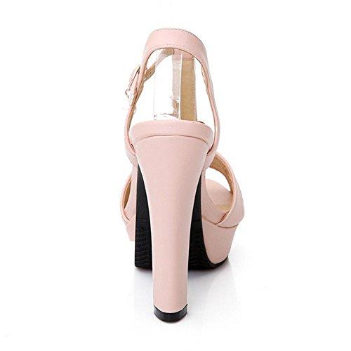 COOLCEPT Zapato Mujer Moda Peep Toe Tacon Alto Correa En T Enjoyable Plataforma Bombas Zapatos Sandalias Zapato Rosado