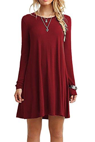 CPOKRTWSO Women' s Casual Plain Tshirt Loose Dresses
