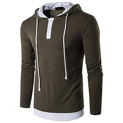 kaifongfu Men Solid Hooded Long-Sleeved T-Shirt Drawstring Sweatshirt Top Blouse