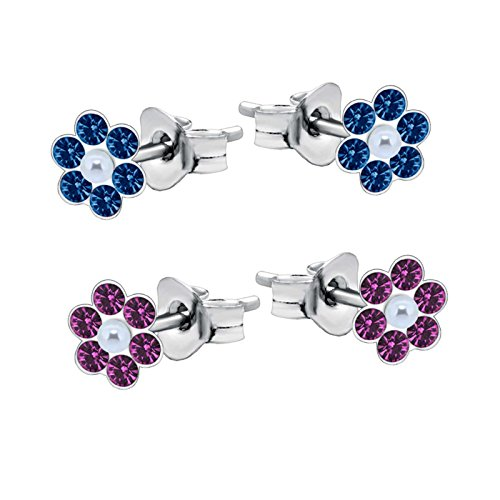 SL de Silver 2pares pendientes set flor de cristal con perlas 925plata en caja de regalo