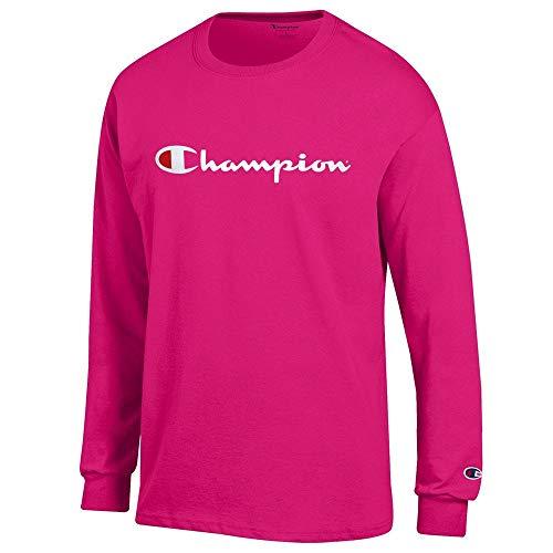 (Champion Script Logo Men's (Knockout Pink) Long Sleeve T-Shirt (XL))