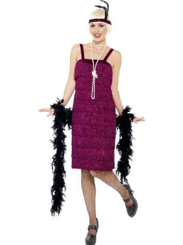 1920s Flapper Costumes Uk (Smiffy's Jazz Flapper Costume, Burgundy, Small)