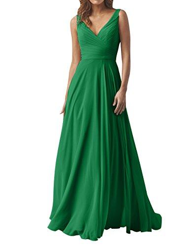 Grün mia Elegant Abendkleider Ausschnitt La Partykleider Linie V Chiffon A Sommer Brau Ballkleider Brautjungfernkleider Lang 1q6wg