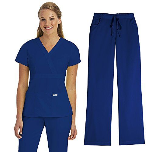 Grey's Anatomy Women's 4153 Scrub Top & 4232 Scrub Pant Medical Uniform Scrub Set (Twilight - Medium)