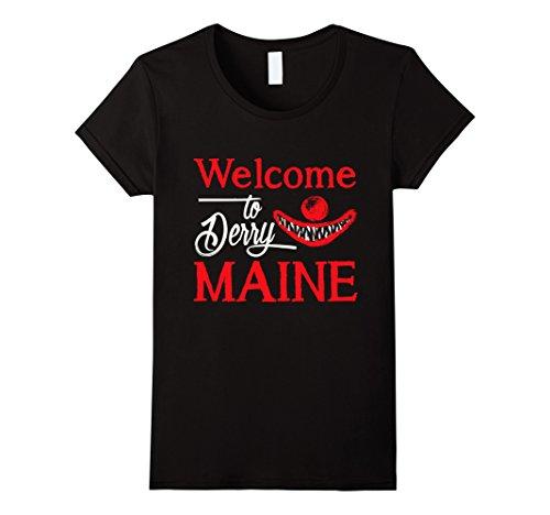 Womens Welcome To Derry Maine T Shirt Horrifying Clown Medium Black