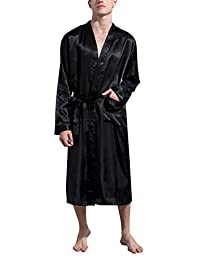 Dolamen Men's Dressing Gown Bathrobe Kimono Satin Long Nightwear