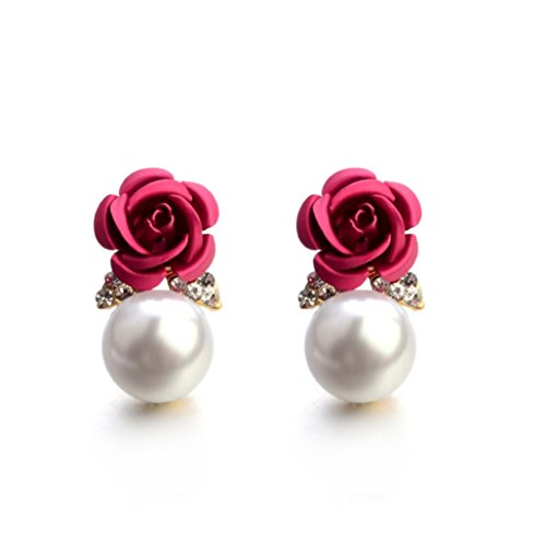 BEUU Hot Sale Pearl Rose Ear Studs Fashion Jewelry Bohemia Flower Rhinestone Earrings For Women Summer Style (Red)