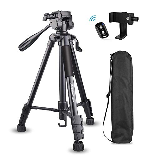 60-inch Camera Tripod, 5kg/11lb Load TR60 Load Portable Lightweight Aluminum Travel Tripod with Carry Bag & Bluetooth Remote, for DSLR SLR Cameras Compatible with iPhone & Android Phone