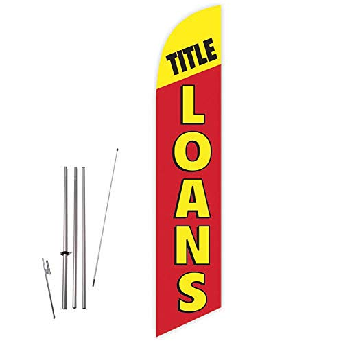 Cobb Promo Title Loans (Red) Feather Flag with Complete 15ft Pole kit and Ground Spike (Best Payday Loan Lenders)