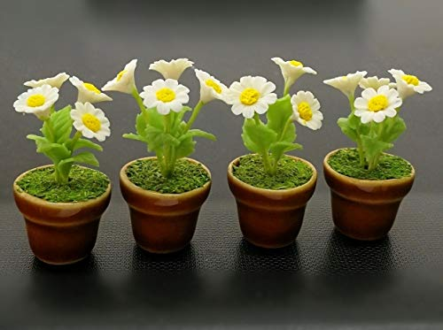 - thebestbuy 4 Dollhouse Miniature White Daisy Flower Trees in Brown Ceramic Pots
