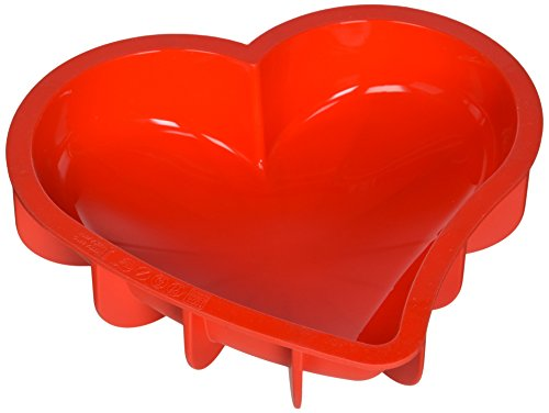 Silikomart SFT211 Silicone Let's Celebrate Bakeware Collection Cake Pan, (Red Heart Pan)