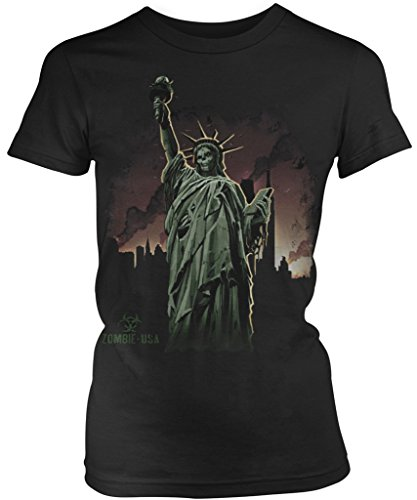Zombie Statue of Liberty Junior's Ladies T-shirt, Amdesco, Black 2XL