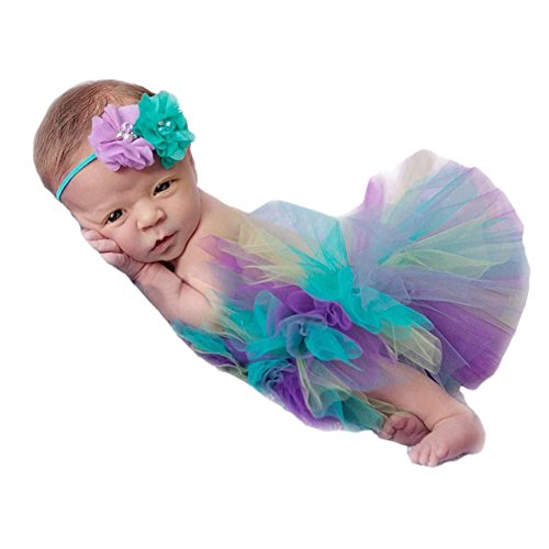 Fashion Cute Newborn Girl Baby Photography Props Outfits Tutu Dress Flower Headdress (Cute Baby Costumes For Girls)