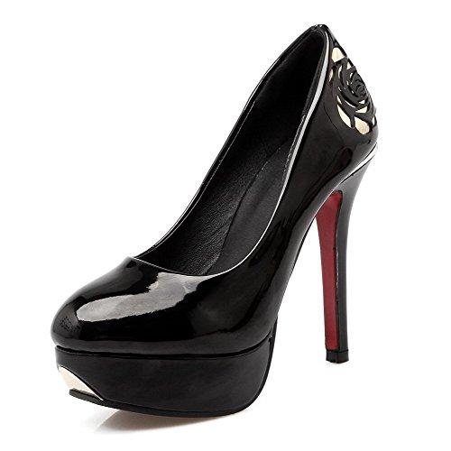 AllhqFashion Damen Lackleder Ziehen auf Rund Zehe Stiletto Rein Pumps Schuhe Schwarz