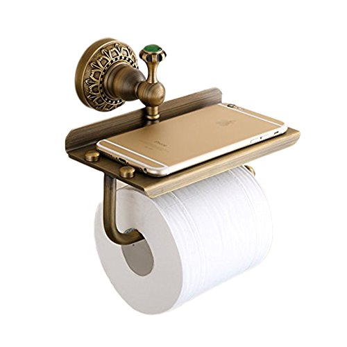 (Beelee Bathroom Tissue Holder/toilet Paper Holder Solid Brass Wall-mounted Toilet Roll Holder, Toilet Paper Tissue Holder with Mobile Phone Storage Shelf Antique Brass Finished)