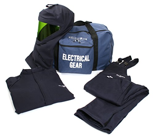 National Safety Apparel KIT4SC40NGMD ArcGuard HRC 4 Arc Flash Kit with 40 cal/sq cm Ultra Soft Short Coat and Bib Overall, Medium, Navy by National Safety Apparel Inc
