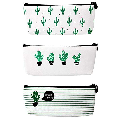 RIANCY Kawaii Cactus Pencil Case,Canvas Pencil Bag Pen Case Cosmetic Makeup Storage Bag Coin Purse Pencil Stationery Pouch for Kids, Girls,Boys,Students (3 Piece)