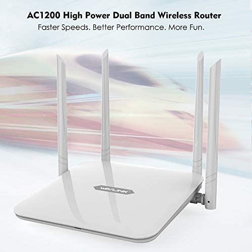 WAVLINK WiFi Router, AC1200 Dual Band Gigabit Home Router Wireless Wi-Fi Router 1200Mbps Smart WiFi Router High Speed WiFi Box with High Power Amplifiers PA LNA, 4 x 5 MIMO 5dBi Antennas