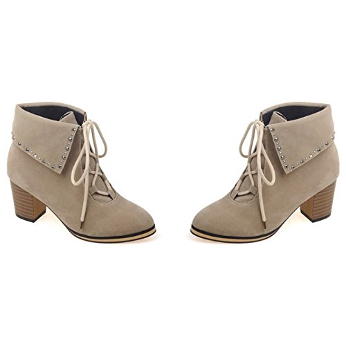 LongFengMa Women's Pointed Toe Square High Heel Lace Up Ankle Boots With Rivet Beige C9Ium0u