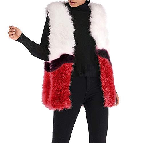 Softmusic Winter Women Fluffy Waistcoat Color Block Sleeveless Vest Coat Outwear Red L ()