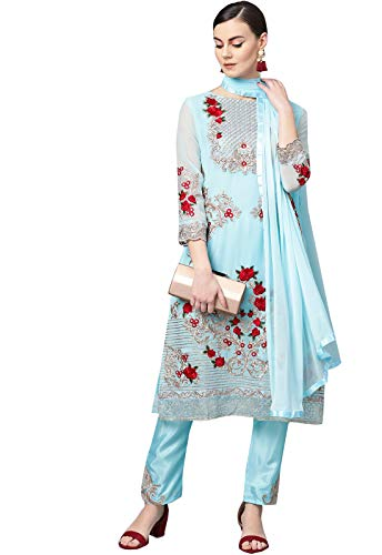 Ishin Women's Poly Georgette Blue Embroidered Unstitched Salwar Suit Dress Material With Dupatta