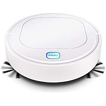 Robot Vacuum Cleaner Volwco 3-in-1 Quiet Household Automatic Vacuum Cleaner with 1200Pa Strong Suction Anti-Collision Sensor USB Rechargeable Sweeper & Mop for Pet Hair Hard Floor Carpets