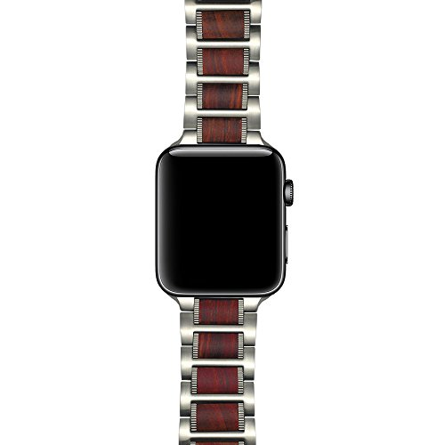 LDFAS Compatible Apple Watch Band 44mm/42mm, Natural Wood Red Sandalwood Silver Stainless Steel Metal Link Bracelet Strap Compatible Apple Watch Series 4/3/2/1