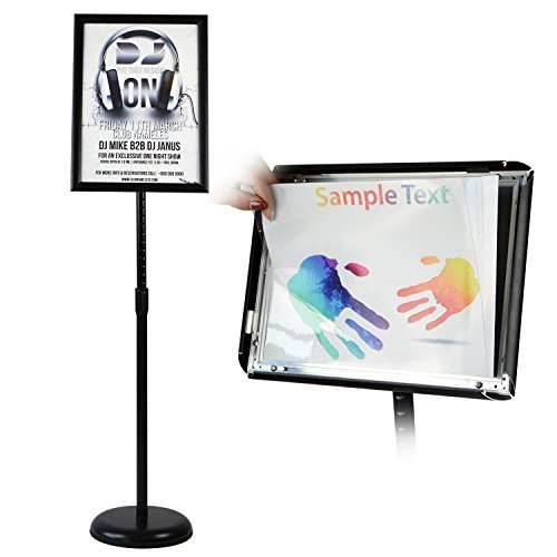 T-Sign Adjustable Pedestal Poster Stand Aluminum Snap Open Frame For 11 x 17 Inches Graphics, Both Vertical and Horizontal View Sign Displayed – Color Black, Round Base