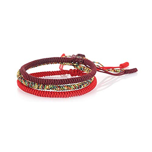 (HUNO Handmade Weave Tibetan Buddhist Woven Knots Bracelets Mens Womens Lucky Red String Bracelets for Protection Jewelry-All Colorful )