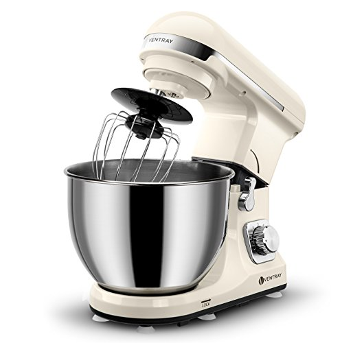 Ventray Stand Mixer 6-Speed 4.5-Quart Stainless Steel Bowl with Pouring Shield, Cream Beige