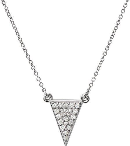 (Diamond Triangle Necklace, Rhodium-Plated 14k White Gold 16.5