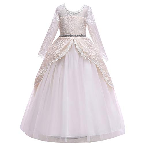 Girls Long Sleeve Tulle Lace Royal Retro Medieval Renaissance Dress Kid Princess Pageant Embroidery Flower Long Maxi Gown Gothic Victorian Masquerade Dress for Wedding Birthday Champagne 7-8]()