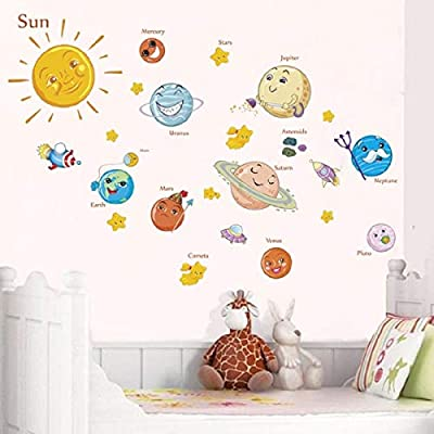 Cute Solar System Wall Stickers Decals for Kids Rooms Stars Outer Space Planets Earth Sun Saturn Mars Poster Mural School Decor (1): Kitchen & Dining