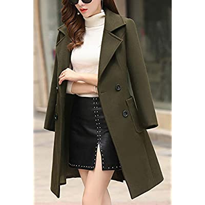 chouyatou Women Elegant Notched Collar Double Breasted Wool Blend Over Coat: Clothing