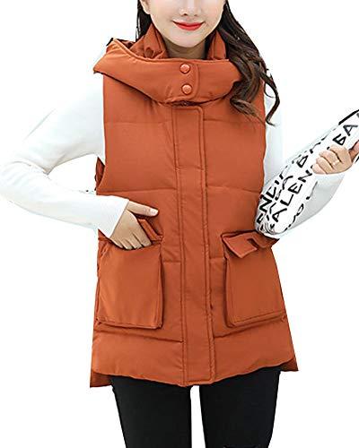 Warm Sleeveless Coat Gilet Vest Women Down Jacket Thicker Quilted Orange Overcoat tqwS61d