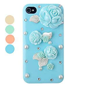 DIY Rose Ornament Plastic Back Case for iPhone 4/4S(Assorted Color) --- COLOR:Yellow
