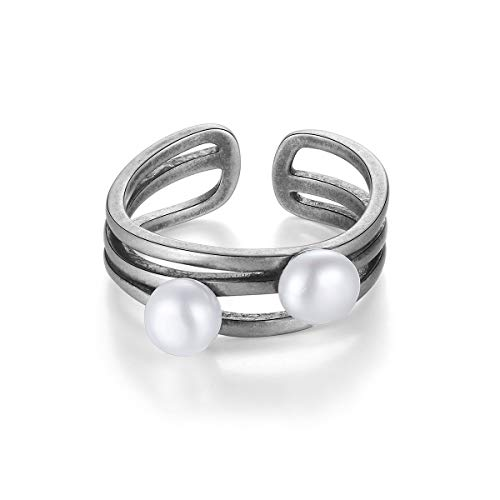 YinShan S925 Sterling Silver Adjustable Animal Rings Jewelry Gift for Women (Pearl)