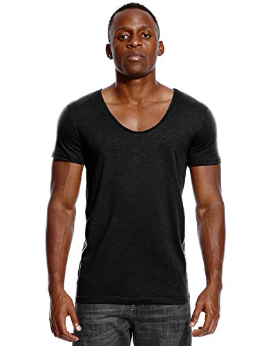 Deep V Neck T Shirt for Men Low Cut Scoop Tee Invisible Tshirt Vee Top Black M