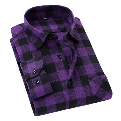 (Etecredpow Mens Casual Checkered Plaid Flannel Long Sleeve Shirt Purple)