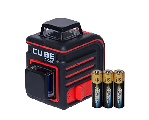 (AdirPro Cube 2-360 Horizontal and Vertical Cross Line Laser with Accessories, Red/Black)