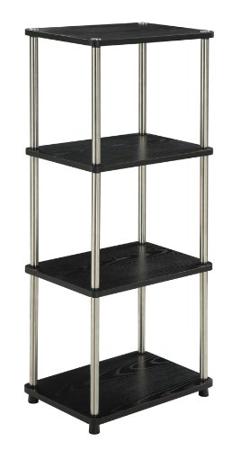 Convenience Concepts Designs2Go 4-Tier Bookshelf/Media Tower, Black