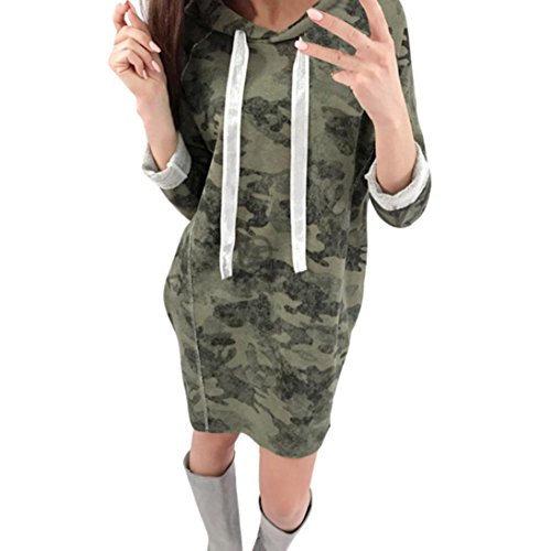 Women Dress Daoroka Women's Sexy Camouflage Print Sweatshirt Hoodies Drawstring Pullover Tops Dress With Pockets Soft Casual Long Sleeve Loose Knee Length Slim Fit T-Shirt Skirt (XL, (Camouflage Knee Length Skirt)