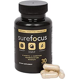 Sure Focus Premium Nootropics Natural Brain Function Supports Memory, Focus Clarity, Energy N-Acetyl L-Carnitine